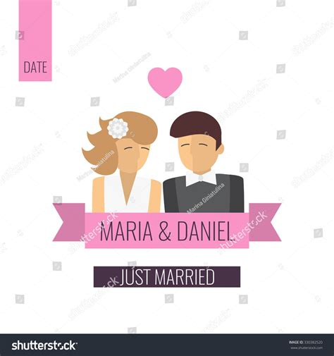 newlywed card template just married template wedding card stock vector
