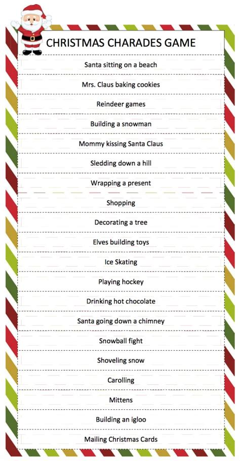 printable christmas table games christmas charades game moms munchkins