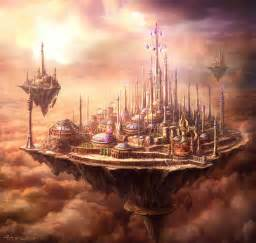 Floating islands gamergirl bookaddict futuristic cities fantasy art