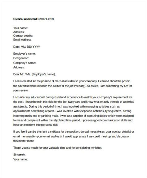 Clerical Associate Cover Letter by 10 Clerical Cover Letter Templates Free Sle Exle Format Free Premium