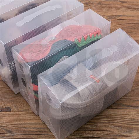 clear plastic shoe storage boxes 20x transparent clear plastic shoe storage box foldable