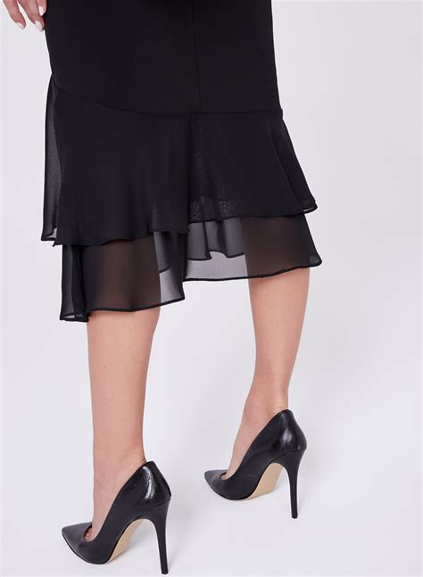 Ruffled Chiffon Skirt ruffled chiffon hem pencil skirt melanie lyne