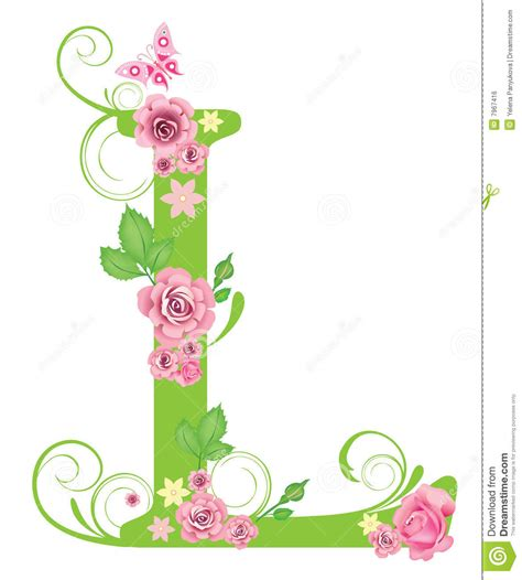 designer l letter l with roses stock vector image of symbol spell