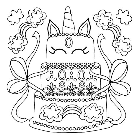 beautiful unicorn cake coloring pages printable pulpenku