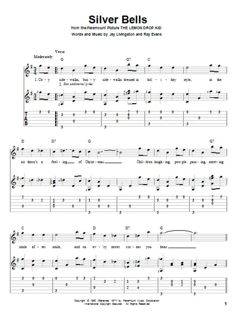 printable lyrics for silver bells silver bells guitar tab by jay livingston guitar tab 83296