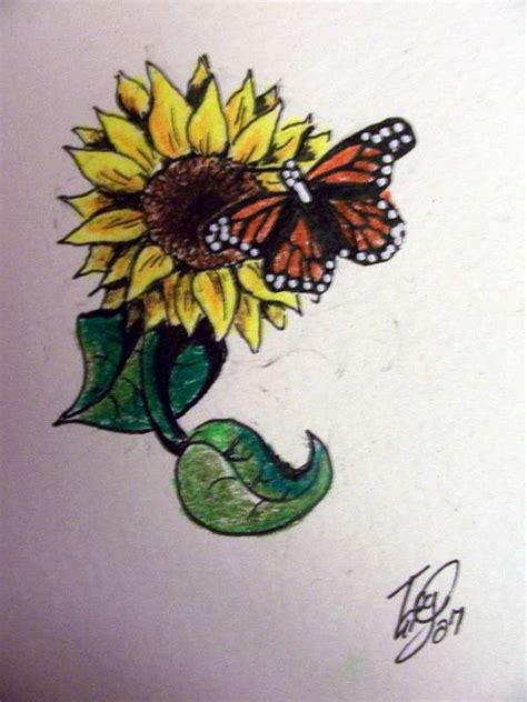 butterfly and sunflower tattoo designs design images by bryan woodard