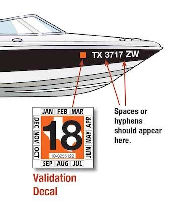 boating requirements in texas displaying the registration number and validation decals