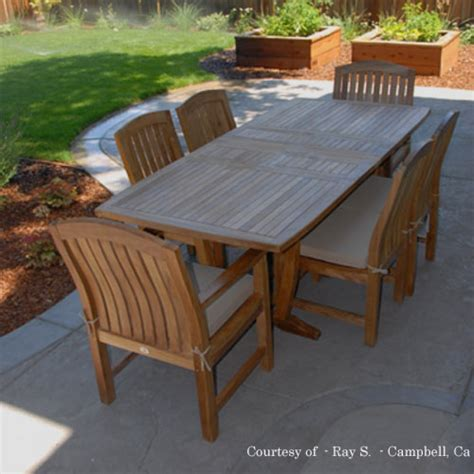 outdoor patio table set teak outdoor patio dining set agean table zaire chair