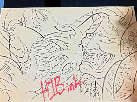 hannya mask japan tattoo by huttori on deviantart