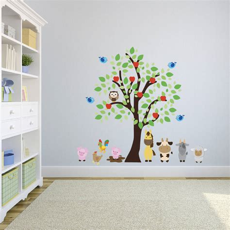farm animal wall stickers tree and farm animal wall stickers by mirrorin