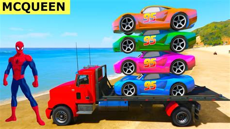 superheroes trucks car garage colors mcqueen cars on truck with spiderman superheroes