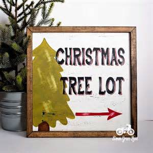 christmas tree lot sign handpainted 12x12 cottage by