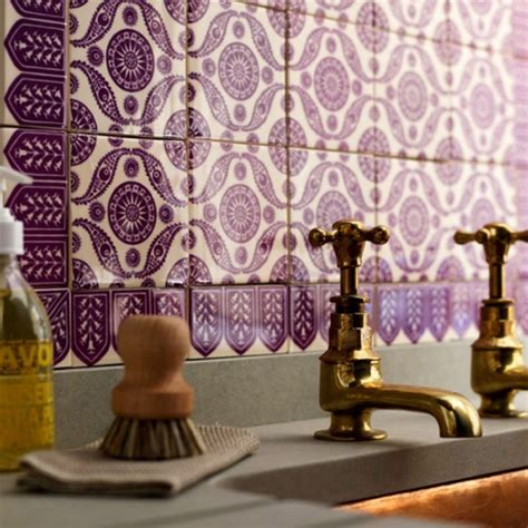 purple kitchen backsplash and creative bathroom tile designs decozilla