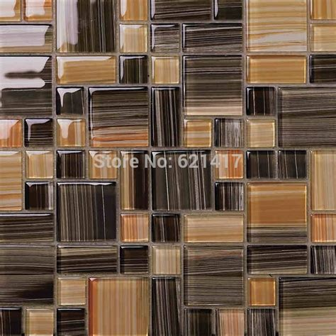 kitchen embellish glass tile backsplash pictures for small and big square brown color crystal glass mosaic