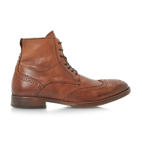 dune cobbler leather brogue boots in brown for lyst