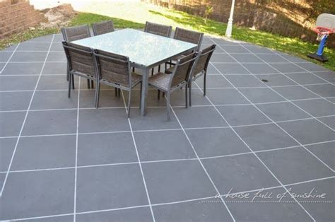 Painting Patio Pavers Backyard Makeover How To Paint Concrete To Look Like Oversize Pavers Stenciled Patios