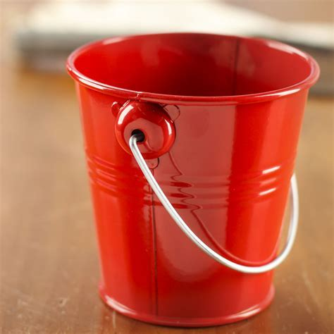 Red Metal Pail   Baskets, Buckets, & Boxes   Home Decor