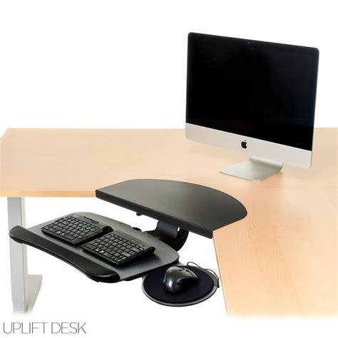 corner desk keyboard tray uplift keyboard tray kit for corner l shaped desk