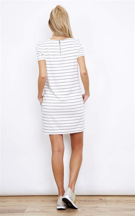 31176 Color White Grid Stripe S M L Blouse white thin stripe dress with denim pockets silkfred