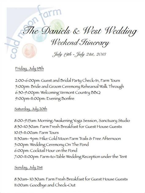 free wedding day itinerary template wedding weekend itinerary template template business