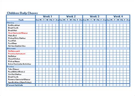 daily chore list template 22 chore chart template free pdf excel word formats