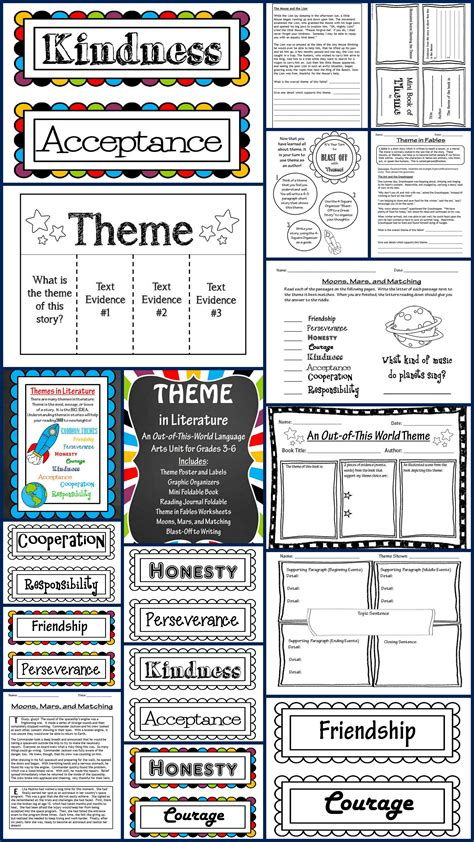 themes in literature quiz theme in literature theme match foldables writing
