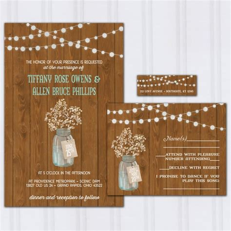Barn Wood Wedding Invitations rustic barn wood wedding invitations babys breath invite