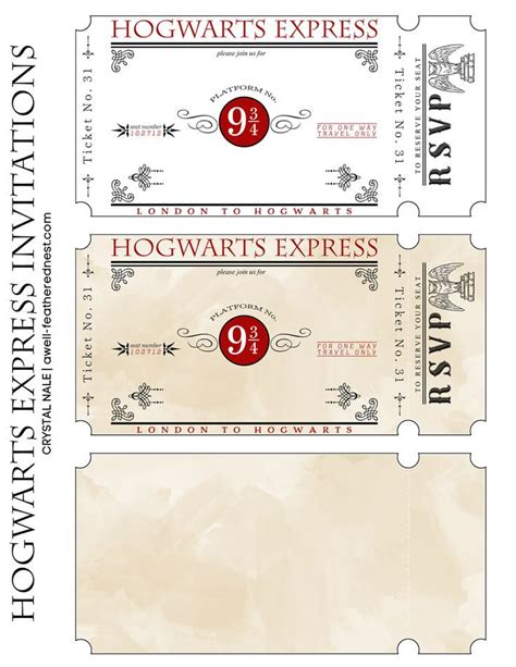 express template hogwarts express tickets hp hogwarts express