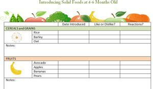 printable food diary for babies 4 to 6 months food chart food charts food diary and