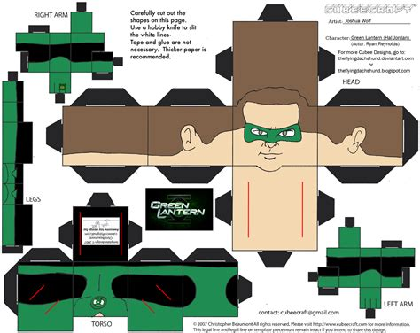 Cubee Papercraft - dcf8 green lantern hal cubee by