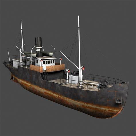 old boat models old steam ship 3d model