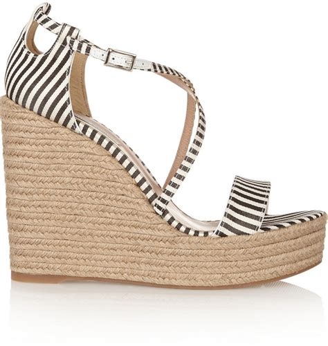 simmons striped silk espadrille wedge