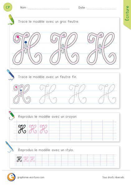 lettere corsive maiuscole apprendre 224 233 crire la lettre h majuscule en cursive