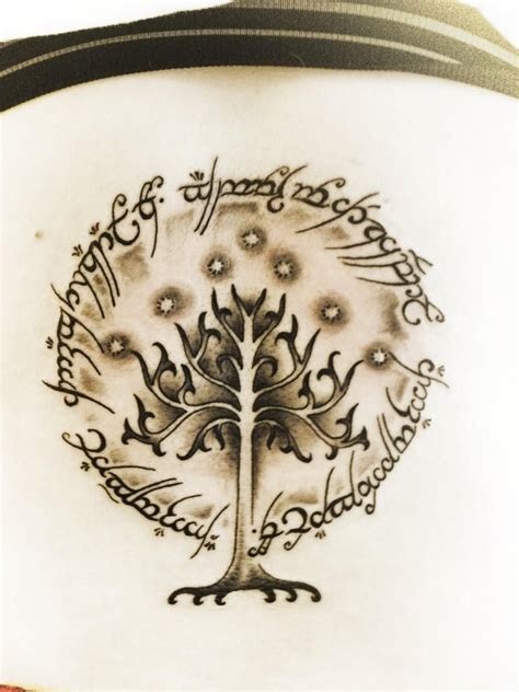 tree of gondor tattoo lord of the rings inscription on the outside of