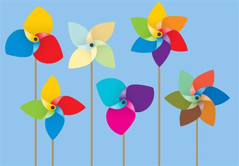 colorful paper colorful paper windmill vectors free vector