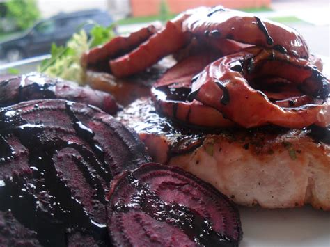 pork chops with grilled beets and apples in a balsamic