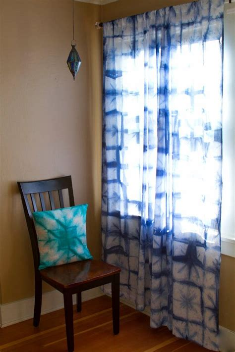 Shibori Curtains Sheer Cotton Voile Curtain Panel Indigo Tie Dye Curtains