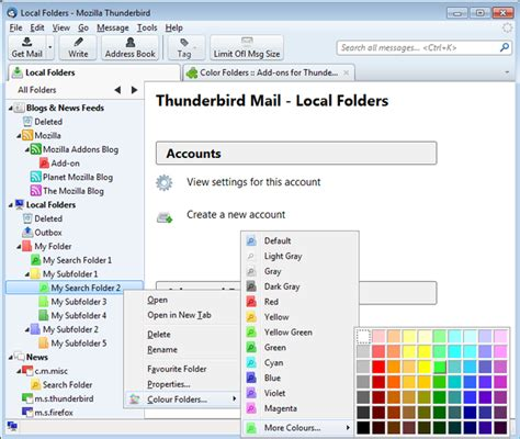 how to add color color folders add ons for thunderbird