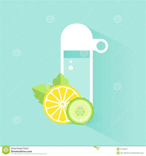Detox Clipart by Water Bottle With Lemon Slices And Mint Vector