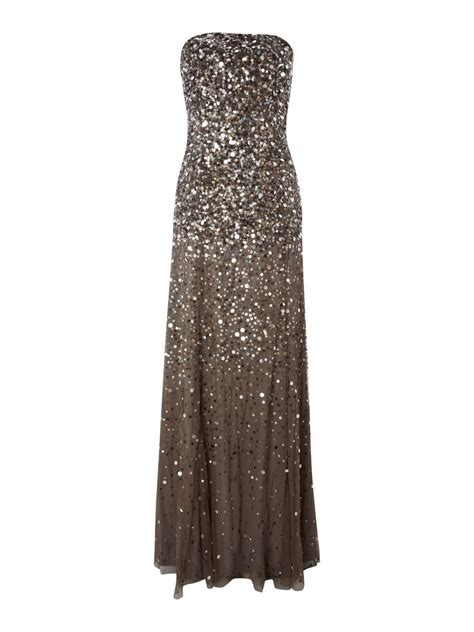 grey beaded dress papell strapless beaded dress in gray grey