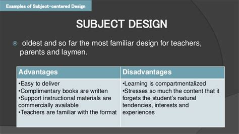 design is subjective curriculum design models