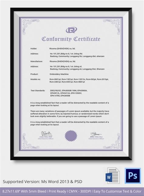 sle certificate of conformance 20 documents in pdf