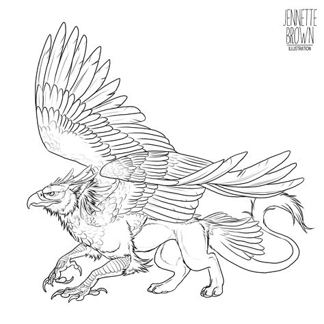 line drawing templates griffin lineart template by sugarpoultry on deviantart
