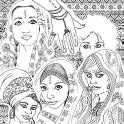 Coloring Book For Adults Indian Fashion Portraits
