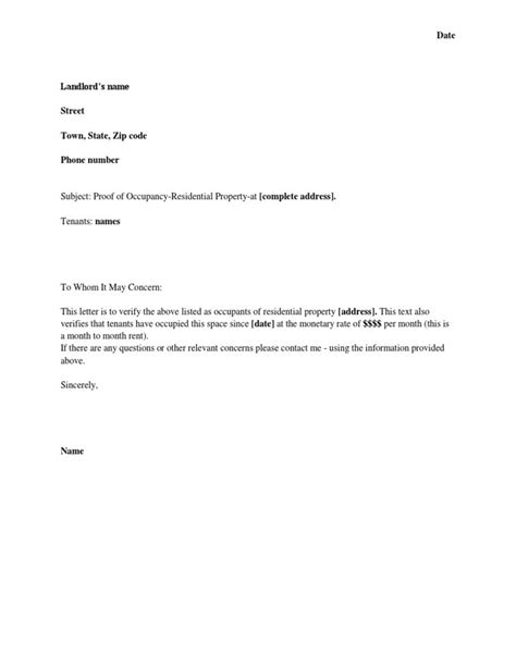 landlord proof of residency letter template doc 728943 landlord verification form employment