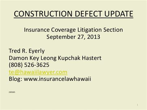 insurance policy sections residential construction defect litigation a view from