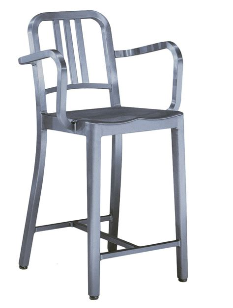 Navy Bar Stools by Navy Stool Bar Chair Armrests H 76 Cm Brushed