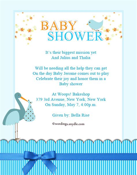 invite for baby shower wording baby shower party invitation wording wordings and messages