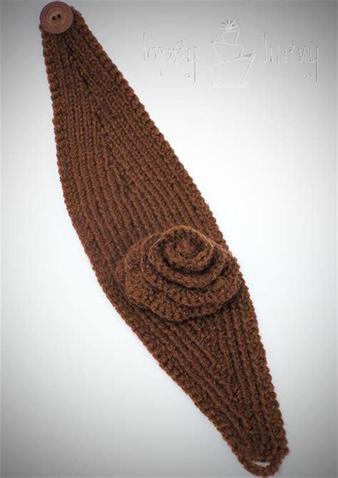 how to knit a warmer knit ear warmer pattern with flower crochet ashlee