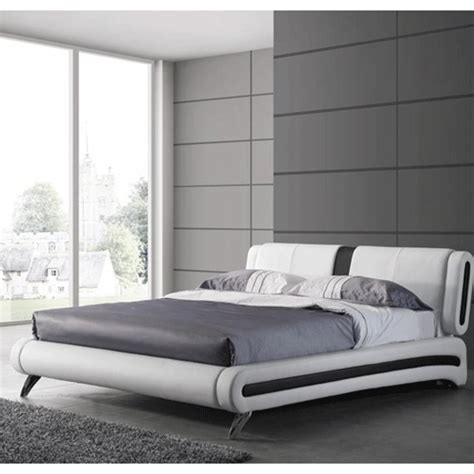 white leather king size bed malmo king size bed in white faux leather with chrome legs